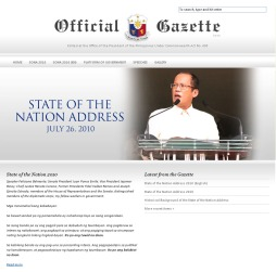 image of the interface of the Official Gazatte, the official website of the president of the Phils.