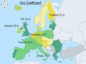 Map showing the Gini score of some European countries